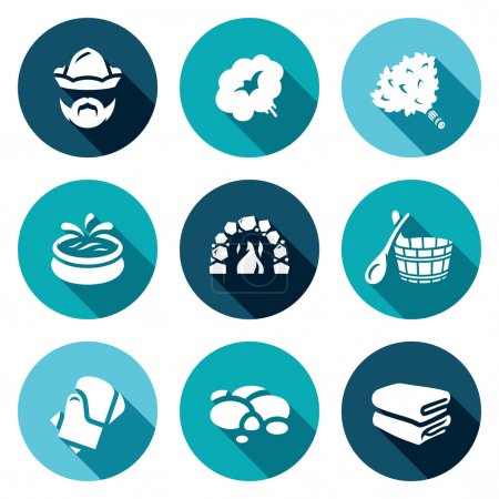 Vector Set of Bath and Sauna Accessories Icons. Bathhouse Attendant, Steam, Broom, Swimming pool, Stove, Wooden Bucket, Basin, Gloves, Stones, Towel