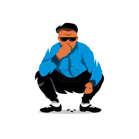 Illustration pour Un garçon accroupi. Isolé sur fond blanc - image libre de droit