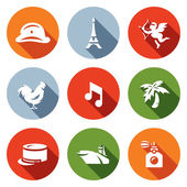 Vector Set of France Icons Army Paris Eiffel Tower Romantic Rooster Music Legion Aircraft Carrier Perfume