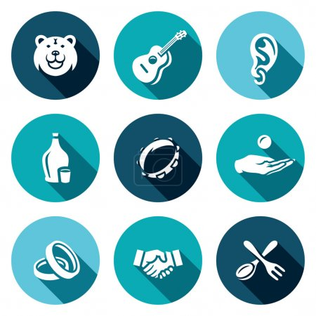 Vector Set of Gypsy Camp Icons. Bear, Guitar, Eear Ring, Alcohol, Tambourine, Beggar, Wedding, Agreement, Silverware.