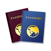 Passports on white background