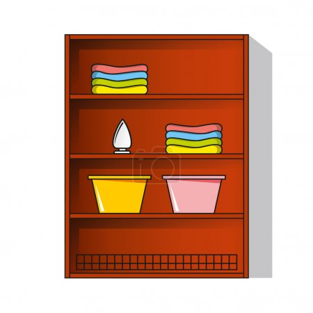 Cupboard, wardrobe with clothes