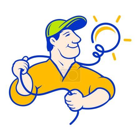 Illustration pour Réparateur professionnel signe isolé sur fond blanc - image libre de droit