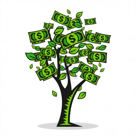 Illustration for Symbol of money Tree a prosperous and profitable business - Royalty Free Image