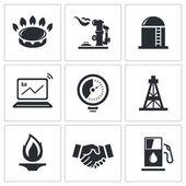 Gas trade vector icon collection