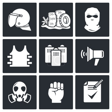 Illustration for Riots on  street  icon collection   set on a black background - Royalty Free Image