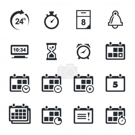 Time, timetable icons set