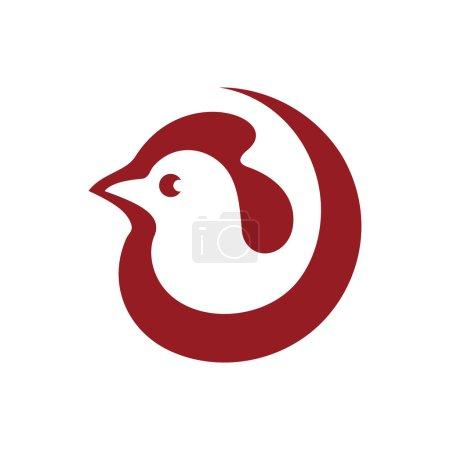 Illustration pour Coq, pancarte poulet. Identité de marque logo d'entreprise isolé sur fond blanc - image libre de droit