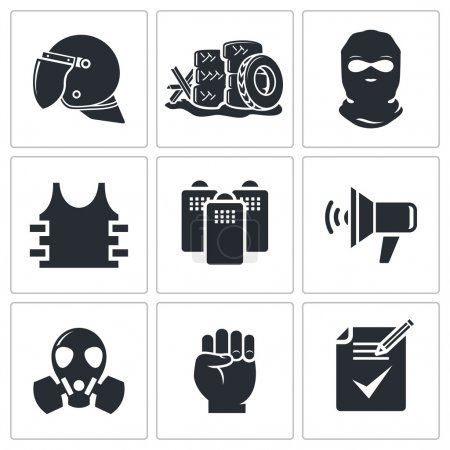 Illustration for Riots icon collection on a white background - Royalty Free Image