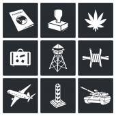 Illegal migration drug trafficking  Icons