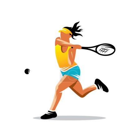 Photo pour Femme jouant au tennis isolé sur fond blanc - image libre de droit