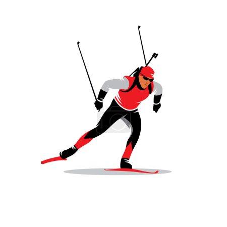 Biathlon skier vector sign