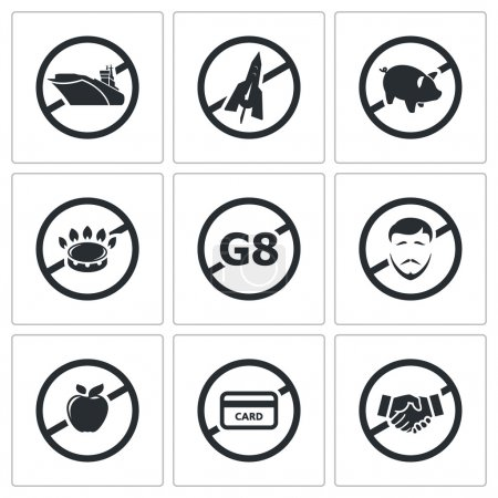 Prohibiting signs, sanctions  Icons Set