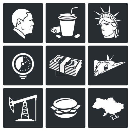 USA policy  Icons Set