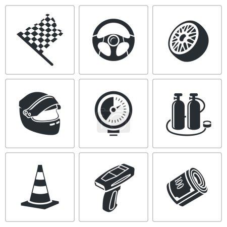 Car racing and pumping  Icons Set