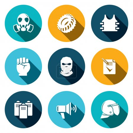 Illustration for Street Riots  vector icons set on a colored background - Royalty Free Image