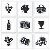 Wine production   Icons Set