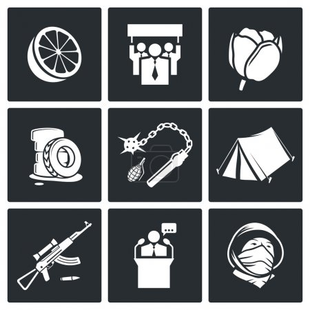 Illustration for Street strike Icon collection isolated on a black background - Royalty Free Image