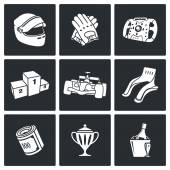 Auto Racing Icons Set