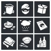 Homeless  Social phenomenon   Icons Set