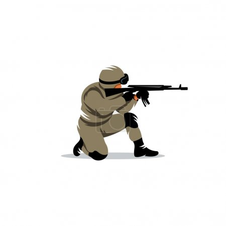 Illustration for Armed military preparing to shoot a machine gun - Royalty Free Image