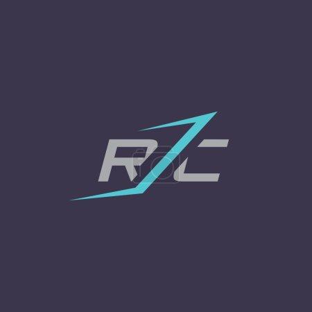 Illustration pour Signe des lettres R et C logo. Identité de marque Modèle de conception de logo d'entreprise Isolé sur un fond sombre - image libre de droit