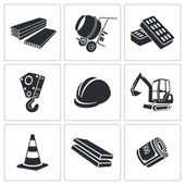 Building construction Vector Isolated Flat Icons collection on a white background