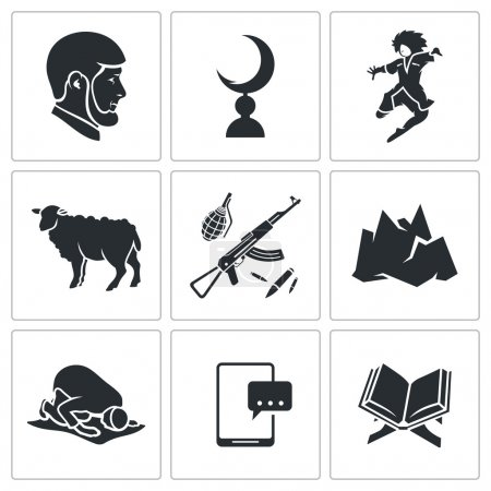 Islam in Chechnya Icons Set