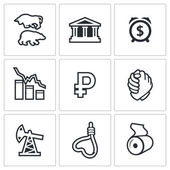 Currency devaluation icons set