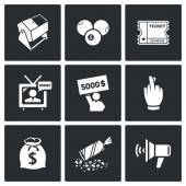 Lottery icons set Vector Isolated Flat Icons collection on a black background for design