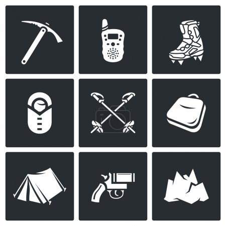 Illustration for Alpinism, Climbing the Mountain icons set.  Flat Icons collection onblack background for design - Royalty Free Image
