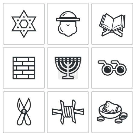 Israel icons set. Vector Illustration.