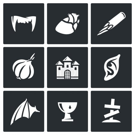 Vampires and means against them icons set.