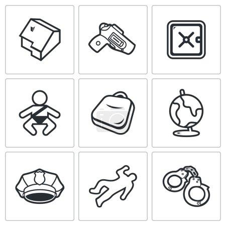 Illustration pour Enfant et armes icons Illustration vectorielle - image libre de droit
