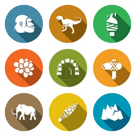 Illustration for Stone Age and Dawn of the Dinosaurs Icons Set. Vector illustration. Isolated Flat Icons collection on a color background for design - Royalty Free Image
