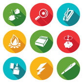 Make a fire the fire source Icons Set Vector Illustration Isolated Flat Icons collection on a color background for design