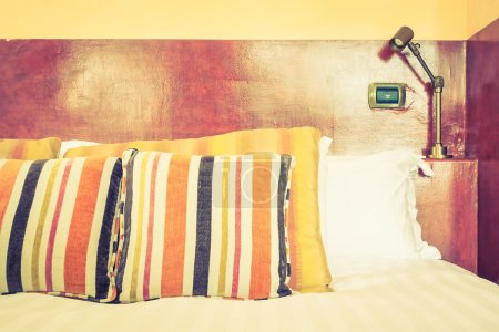 Pillows and bed decoration with morocco style