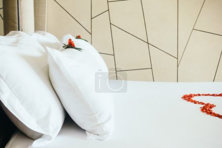 Honeymoon bed with rose flowers