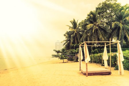 Beautiful vintage beach and sea with deck