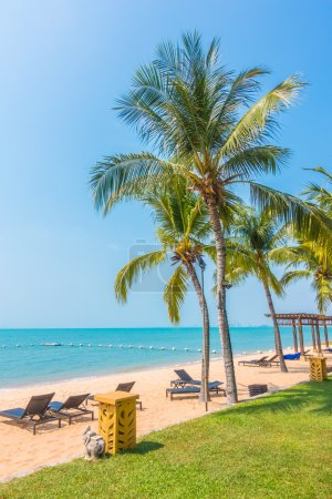 Beautiful beach and sea with palm trees