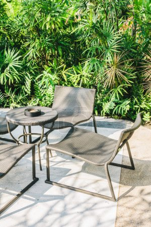 Outdoor patio with empty chairs