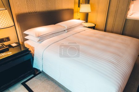 Beautiful luxury white pillows on bed