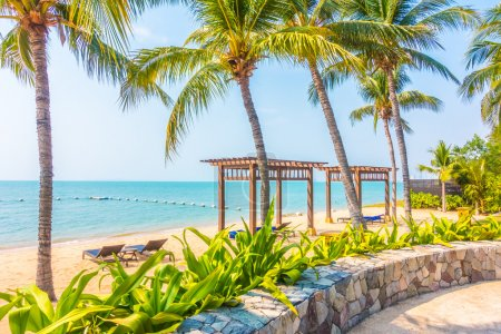 Photo for Beautiful tropical beach and sea with palm trees, Boost up color Processing - Royalty Free Image
