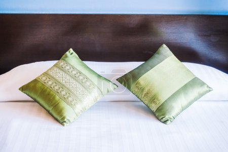 Beautiful luxury pillows on bed