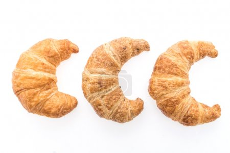 Photo for French butter croissant bread and bakery isolated on white background - Royalty Free Image