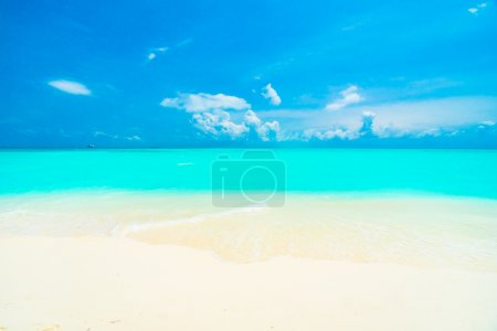 Photo pour Belle plage tropicale et mer dans l'île des Maldives avec cocotier et fond bleu ciel - image libre de droit
