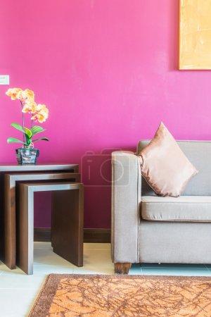 Photo for Pillow on sofa decoration interior of living room with flower vase - Royalty Free Image