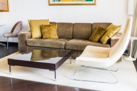 Photo for Beautiful pillow on sofa decoration in living room interior - Royalty Free Image