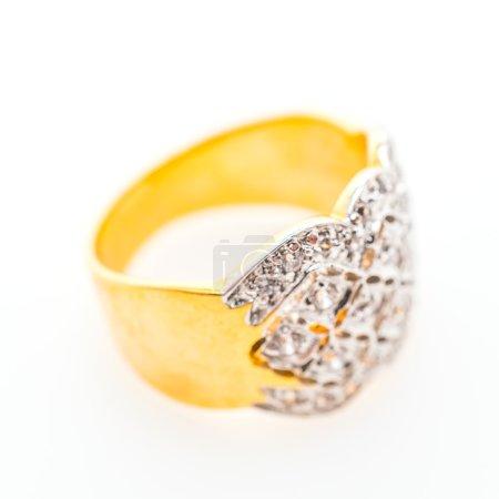 Beautiful luxury gold ring with jewelry diamond