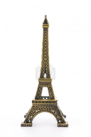 Photo for Eiffel Tower toy isolated on white background - Royalty Free Image